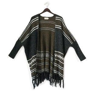 Dreamers open front boho fringe knit cardigan